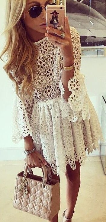 #summer ##flawless #Outfits   Floral Lace Dress