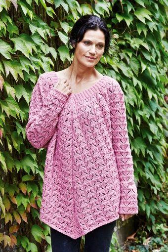 ponchotrøje også i store størrelser strikket i Zenta