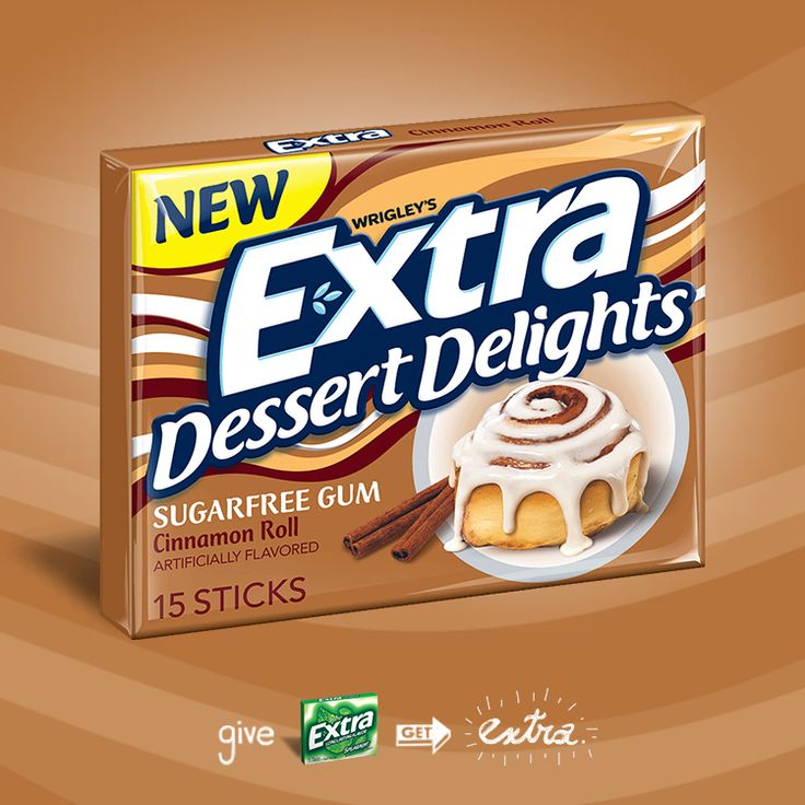 Extra Dessert Delights Cinnamon Roll gum: cinnamon sweetness with a touch of vanilla icing all in a stick of gum.