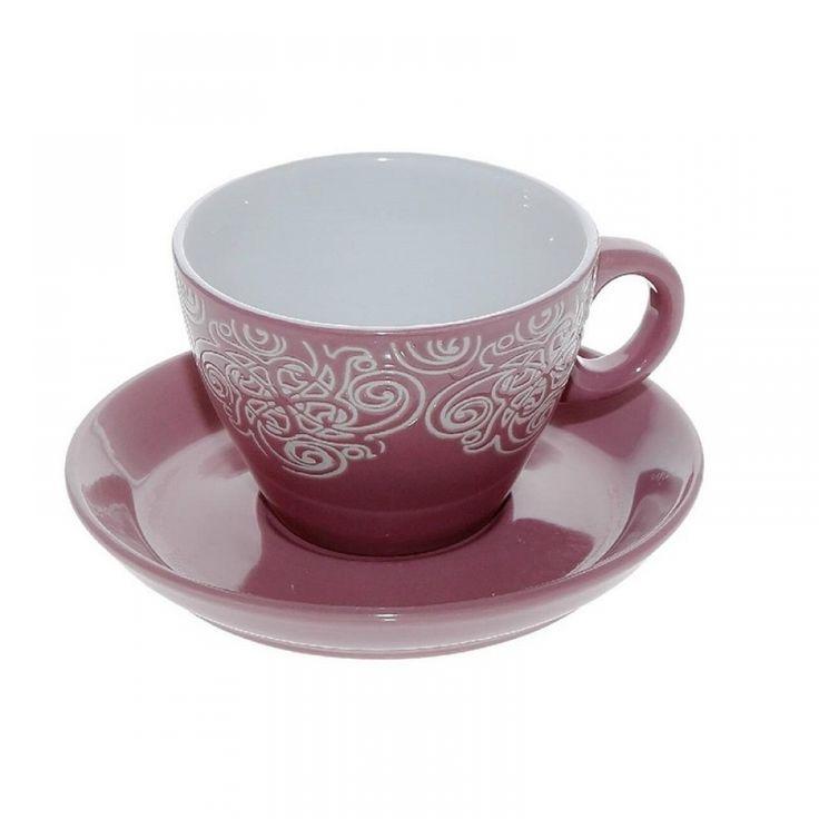 Φλιτζάνια cappuccino, ροζ/λευκό ανάγλυφο (σετ/6) 280 cc Porcelain,dishwasher safe • Διαστάσεις: Διάμετρος 9Χ Ύψος 7 cm