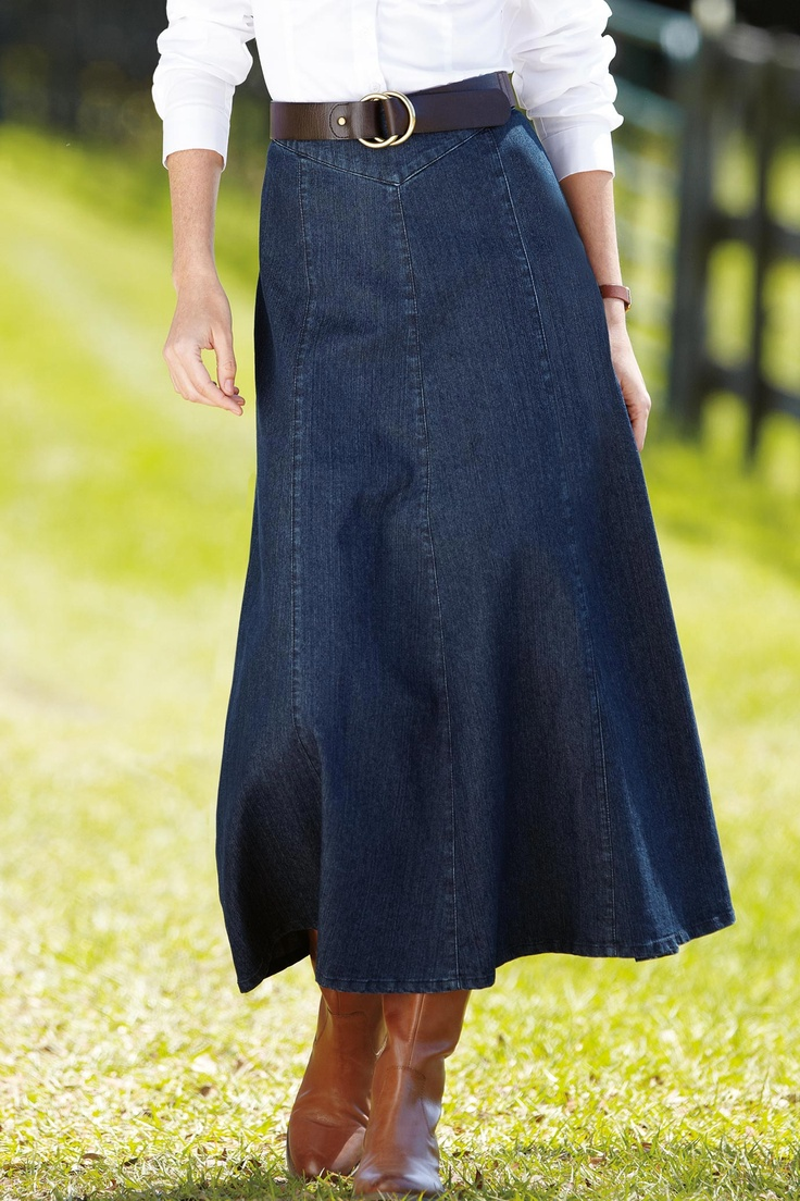 16 best Long denim skirts to wear with boots images on Pinterest
