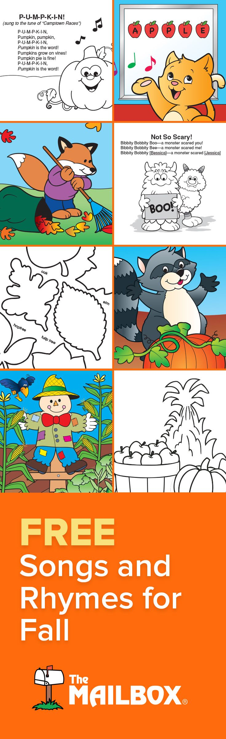 Sing your way through fall with these FREE songs, chants, rhymes, and fingerplays!