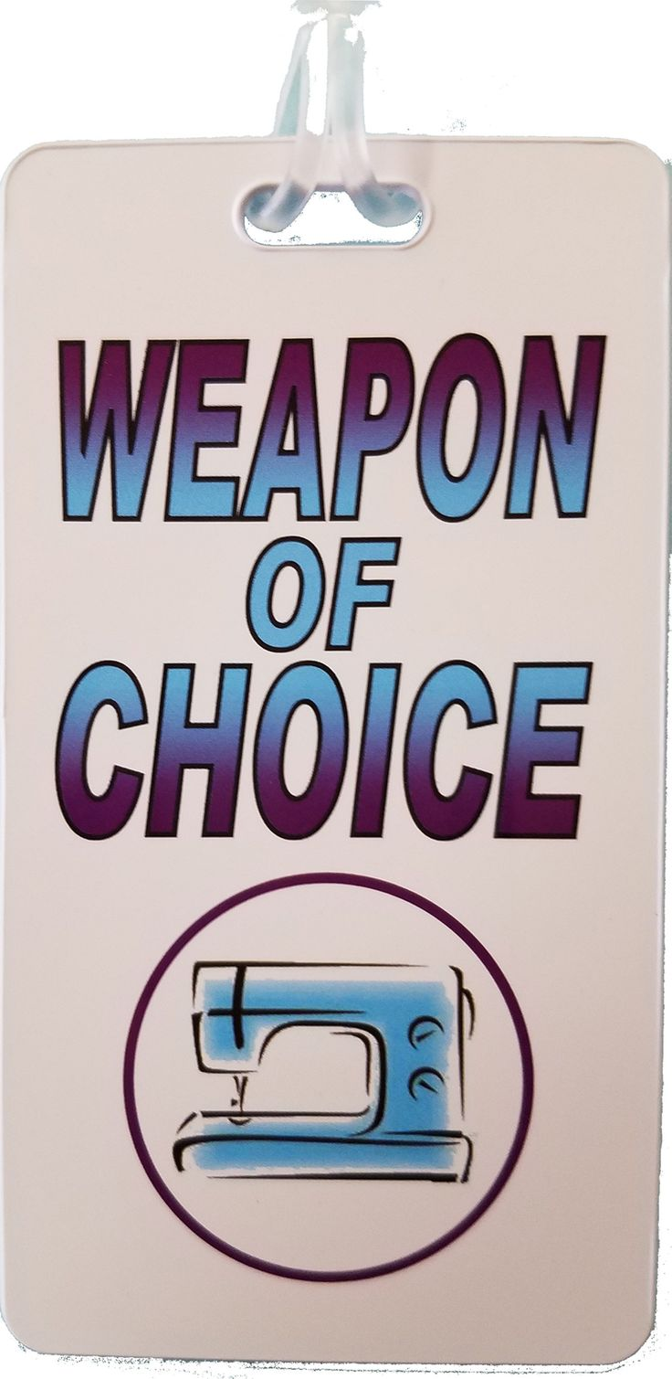 Weapon of Choice Luggage Tag - 2.5 X 4.25 Heavy plastic tag with the saying Weapon of Choice in Blue and Purple print. Your name and address slip in on the reverse side.