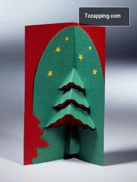 tarjetas de felicitacin kirigami d diy plantilla rbol navidad