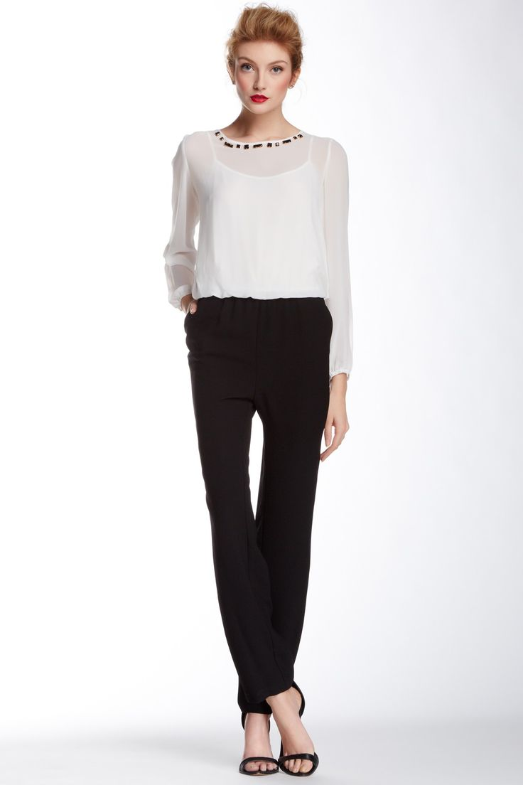 Vince Camuto Bejeweled Neck Jumpsuit by Vince Camuto on @HauteLook