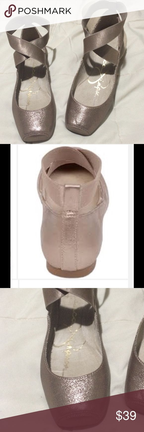 FREE SHIPPING FOR 30 min J S Mandalaye Gold (Rare) Jessica Simpson Mandalaye Nude Gold (barely worn) 🎀Embody all that is adorable about a ballerina slipper when you slide your feet into these Mandalaye Ballet flats. This Ultra Feminine style looks great with jeans or dresses alike!!  Leather uppers with boxed toe.  Easy slip-on construction with elastic ankle silky straps. Man-made lining. Cushioned man-made footbed. Jessica Simpson Shoes Flats & Loafers