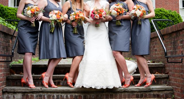 the orange shoes and gray dresses wedding