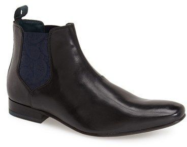 $165, Black Leather Chelsea Boots: Ted Baker London Hourb Chelsea Boot. Sold by Nordstrom. Click for more info: https://lookastic.com/men/shop_items/335919/redirect