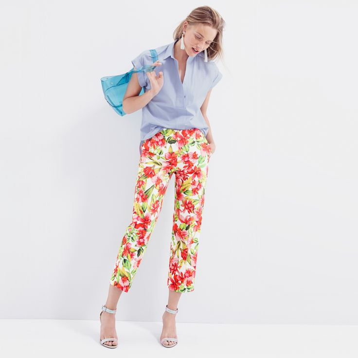 J.Crew Looks We Love: women's short-sleeve popover in oxford blue, Collection cropped trouser in hibiscus, beaded fringe earrings, clear beach tote and iridescent ankle-strap high-heel sandals.