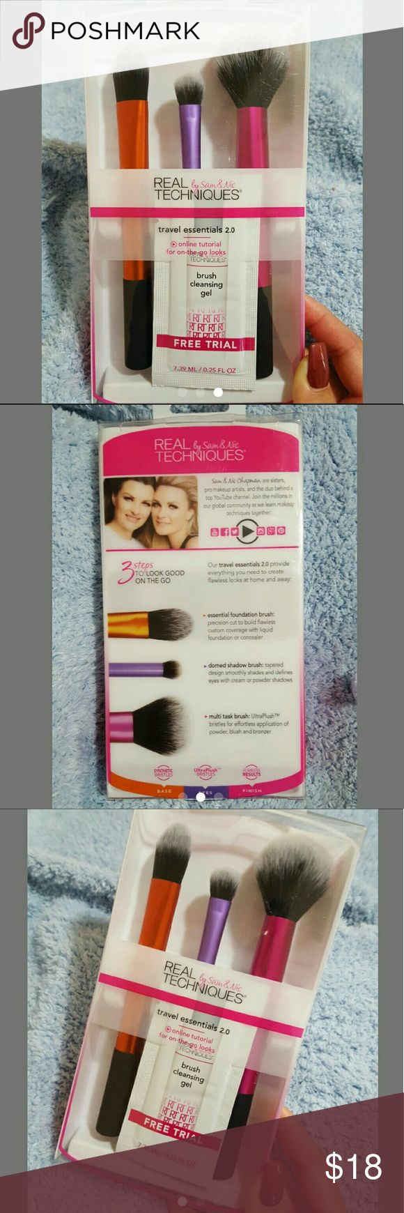 Real Techniques Travel Essentials Brushes Brand new set of real techniques Travel Essentials with a trial of brush cleaning gel. Never been opened.  All my items come from non-smoking home  Check out my other listings, I discount bundles! real techniques   Makeup Brushes & Tools