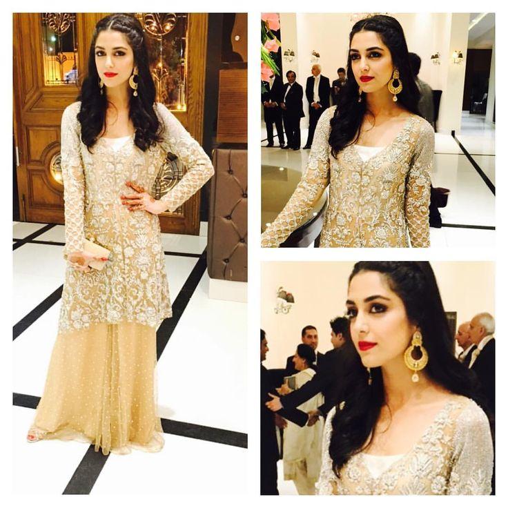 Maya Ali #MayaAli #beige #gold #pakistanifashion #desi #paki
