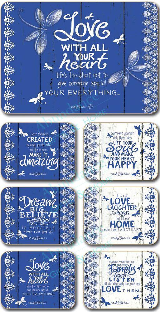 Indigo  Lisa Pollock Inspirational Cork Backed Coasters - Set/6 *NEW*
