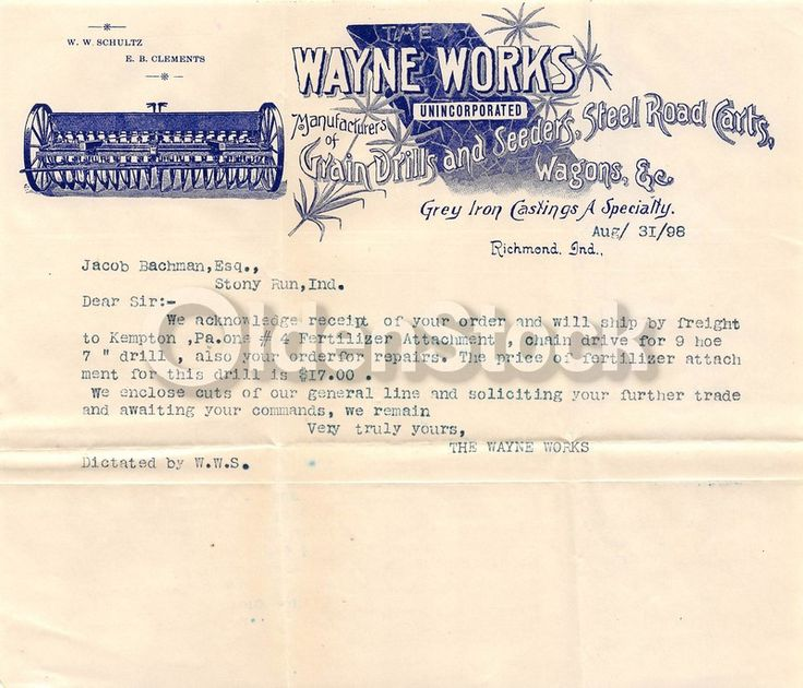 Wayne Works Farm Machinery Richmond Indiana Antique Graphic Advertising Sales Letter 1898