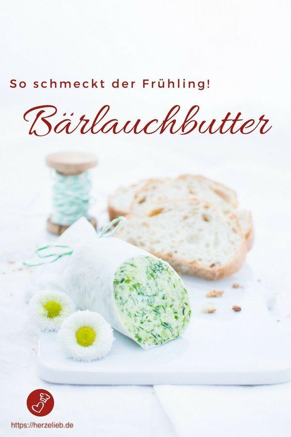 Bärlauch Rezepte, Dip Rezepte: Bärlauchbutter Rezept von herzelieb. Schmeckt nicht nur zu frischem Brot oder Fleisch - auch Fisch ist genial damit! Ganz einfach und schnell einen Vorrat anlagen. #bärlauch #grillen #herzelieb