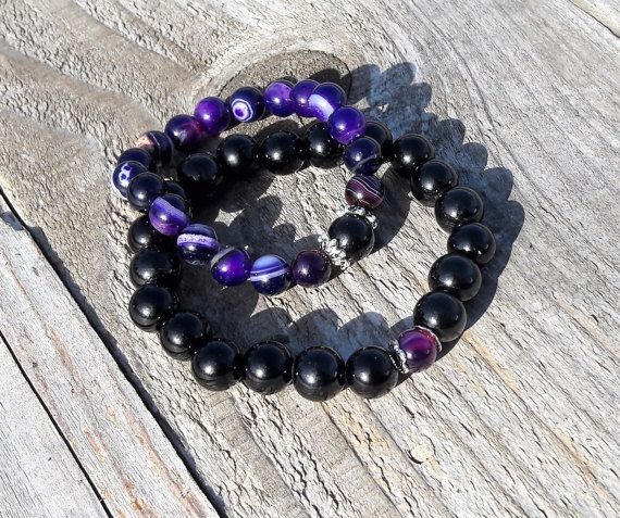 Purple striped agate, distance bracelets, long distance relationship, couples bracelets, best friend jewelry, matching jewelry, his and hers