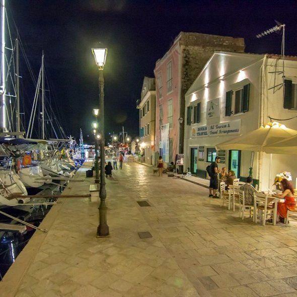 Gaios port at night, Paxos Island (Ionian), Greece