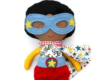 This african american black superhero girl doll is an ideal gift for afro kids, mixed kids. This brown superhero doll soft toy with cape and mask is a great toddler gift for girls or for a super hero birthday.  Personalize your superhero doll with a name tag. - Choose your favourite La Loba superhero doll - add this listing with the name tag to your cart as well http://etsy.me/1VzyFzs  At checkout, please leave me any requests in the comments section of your wished name or short message…