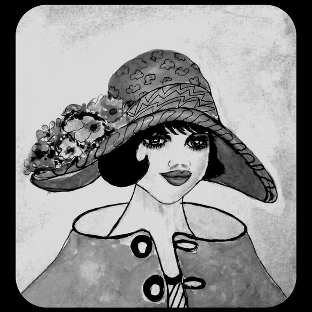 Black White Art Deo Vinage Lady, Giclee Print, Gift Ideas, Unique Gifts,Wall Art £18.00