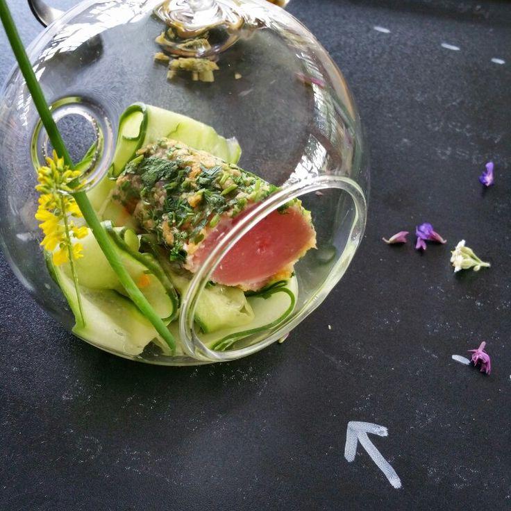 Herb crusted seared red tuna loin