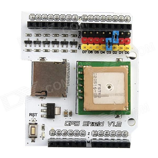 Fastrax UP501 GPS Shield V1.2 for Arduino (Works with Official Arduino Boards). Model: Arduino GPS Shield V1.2 - Color: White - Material: Half glass fiber + FR4 - Port 0: NMEA 9600 baud - NMEA output: GGA, RMC, GSV, GSA (all 1 sec interval) - DGPS/SBAS: Disabled (Module supports WAAS/EGNOS) - Datum: WGS84 - Hardware / Software serial port support - Micro SD card interface - Low power consumption: 75mW @ 3.0V - Configurable fix rate, up to 10Hz - Supply Voltage DC 3.0~5V - Ultra high…