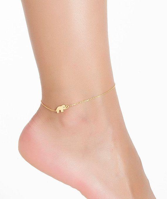 Tiny Elephant Anklet  Elephant Bracelet   by PersonalNecklace