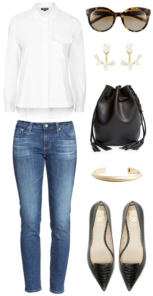 A polished casual chic look // white shirt, round cat-eye sunglasses, ear jackets, bucket bag, jeans & textured pointy toe flats #style #fashion