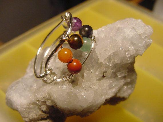 Chakra Ring Semi  Precious Stones Wire Wrapped Silver