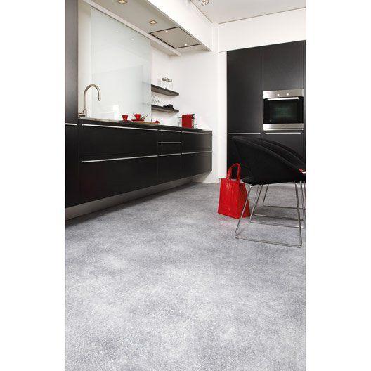 Sol PVC gris métal effet béton, ARTENS Reflex l.4 m