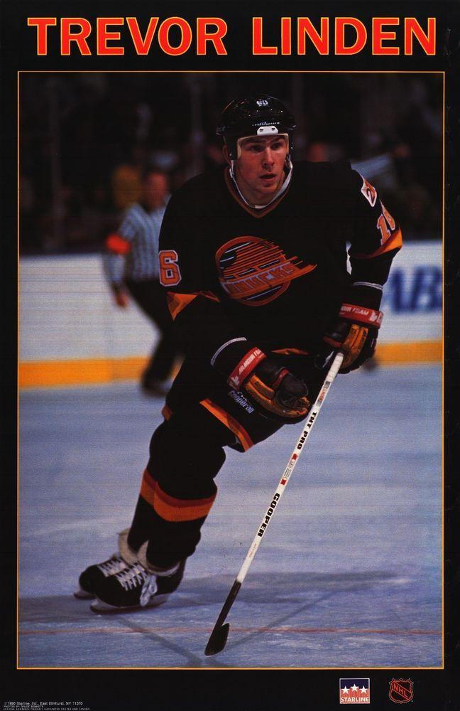 vintage vancouver canucks  | VINTAGE POSTER~Trevor Linden 1990 Vancouver Canucks ...
