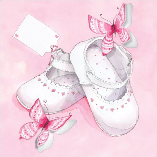 "Pink Baby Shoes ~ Code: LS28 ~   Price: £1.50 ~  Presentation: Flittered and die cut, with a white 100 gsm envelope. Blank for your own message  •Paper Type: Matt Textured   •Artist: Gerry Murray  •Size: 6 x 6"" : 152 x 152mm"
