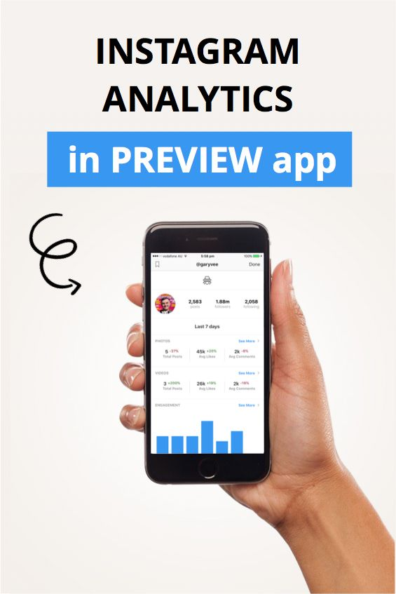 Preview App: Instagram analytics. Deep, actionable Instagram analytics tools in Preview app now. The Instagram analytics include: Engagement rate, Instagram growth, Instagram hashtag analytics. Test your hashtag groups and sets and track your performance.