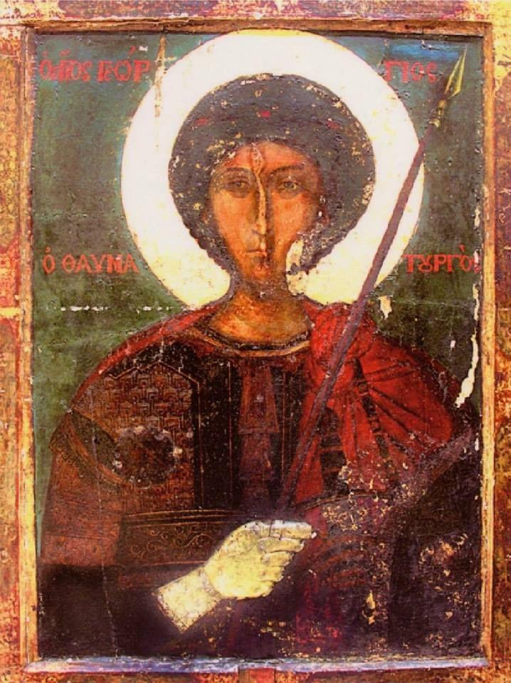 Παλαιά, επιζωγραφισμένη φορητή εικόνα του αγίου Γεωργίου (Ιερά Μονή Ζωγράφου, Άγιον Όρος) - An old, overprinted portable icon of St George (Holy Monastery of Zografou, Mount Athos)