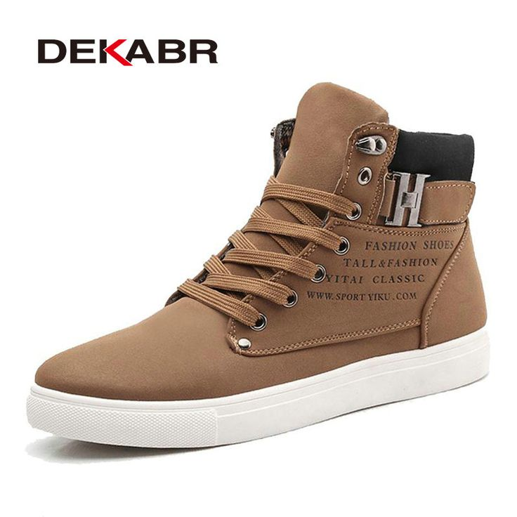 DEKABR 2017 Hot Men Shoes Fashion Warm Fur Winter Men Boots Autumn Leather Footwear For Man New High Top Canvas Casual Shoes Men