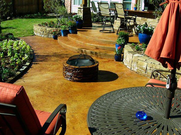 Backyard Patio Designs, Patio Ideas, Backyard Ideas, Porch Designs, Stained Concrete  Patios, Concrete Backyard, Stained Cement, Cement Patio, ...