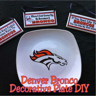 Denver Bronco Logo Decorative Plate DIY