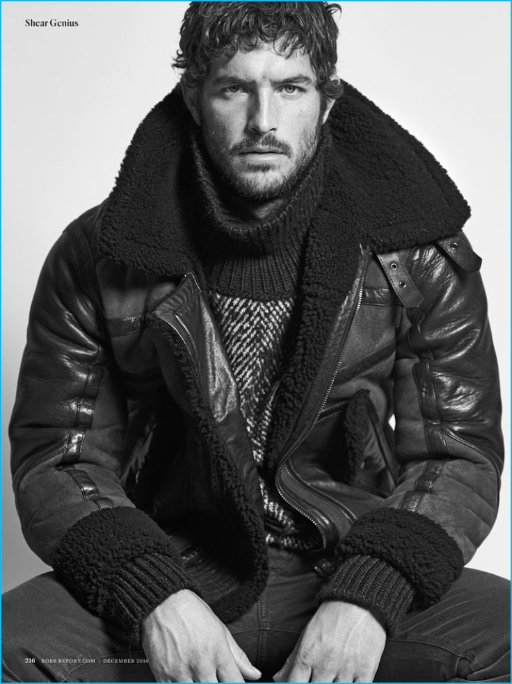 Blair Getz Mezibov photographs Justice Joslin in a Belstaff shearling coat, Boglioli turtleneck sweater, and ISAIA denim jeans for Robb Report.
