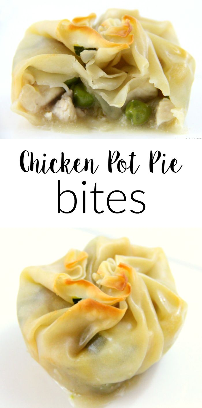 Chicken Pot Pie Bites | Chicken Pot Pies, Pot Pies and Wontons