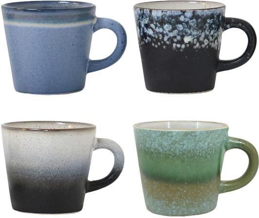 Cappuccino mokken Keramieken 70's - set van 4 - HK Living