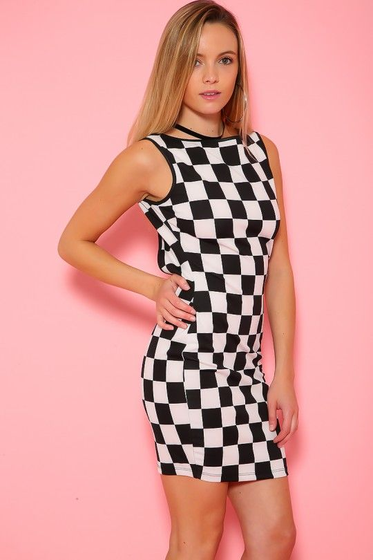 ffaf2bb31fb Sexy Black White Checkered Sleeveless Bodycon Party Dress in 2019 ...