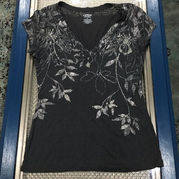 Express black and silver tee. Express black and silver v-neck tee with silver beading. Tops Tees - Short Sleeve