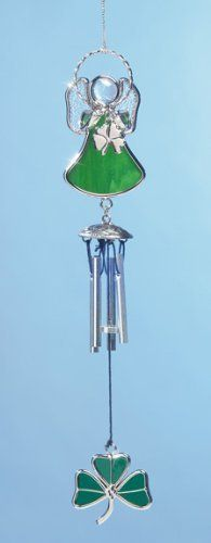 "Irish Angel Suncatcher Wind Chime Stained Glass with Shamrock and Chimes by Banberry Designs. $8.99. 10"" Hanging angel with shamrock. Small metal chimes make a soft sound.. Stained Glass Angel Windchime. Unique Irish gift, use year round from St. Patrick's Day through Christmasl. Use indoors or outdoors. Mini Irish Angel Wind chime Stained glass angel with shamrock.  Small metal chimes make a soft sound. Great decoration year round; from St. Patrick's Day to Christmas!  10"" x 1.75"""