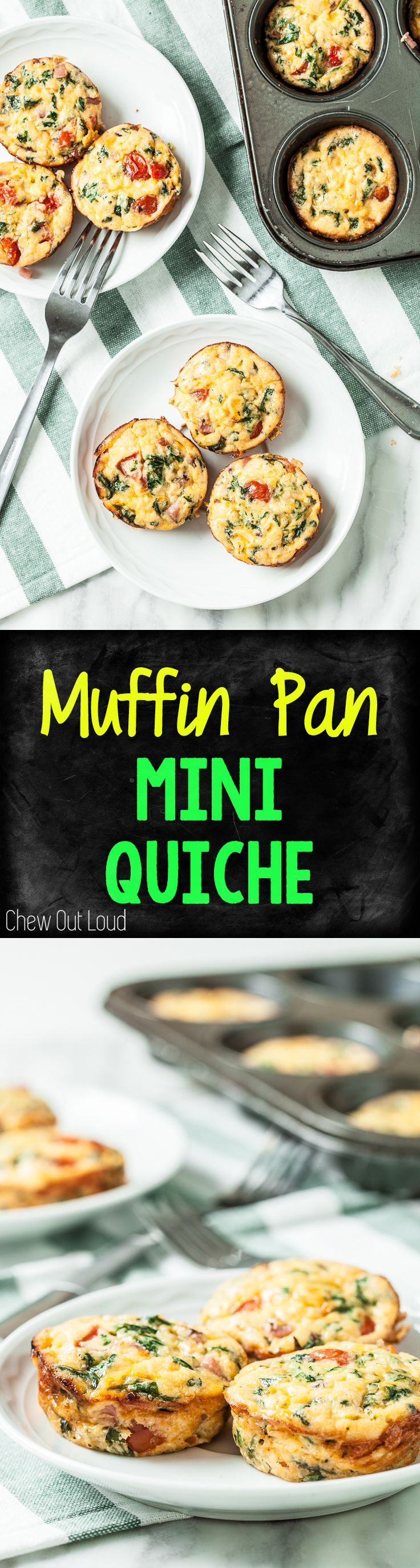 Muffin Pan Mini Quiche. Eggs, spinach, tomatoes, cheese...all the brunch in one muffin! #breakfast #brunch #quiche www.chewoutloud.com