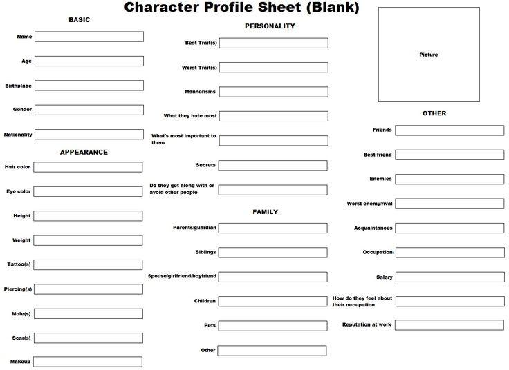 Más de 25 ideas increíbles sobre Character profile template en - character analysis template