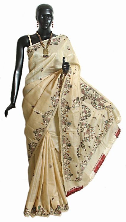 Hand Embroidered Tussar Saree with Border and Anchal (Silk Tussar))