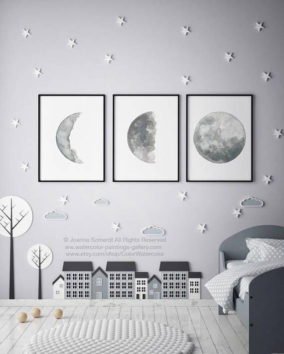 Canvas Moon set 3 Moon Phase Art Prints, Gray Silver Blue Illustration Phases of the Moon Watercolor Painting Full Moon Drawing Wall Decor