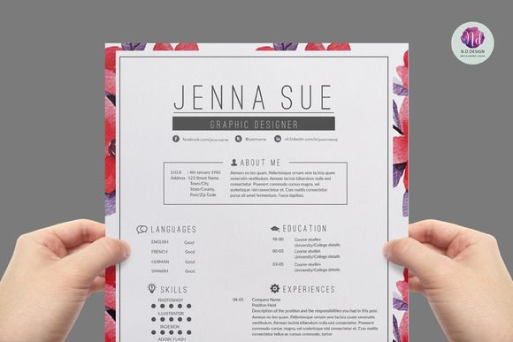 Super chic , modern resume template by Chic templates on Creative Market
