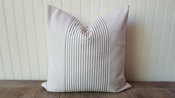 Ticking Stripe Pillow Cover  Canvas and Ticking by sweetcitrushome