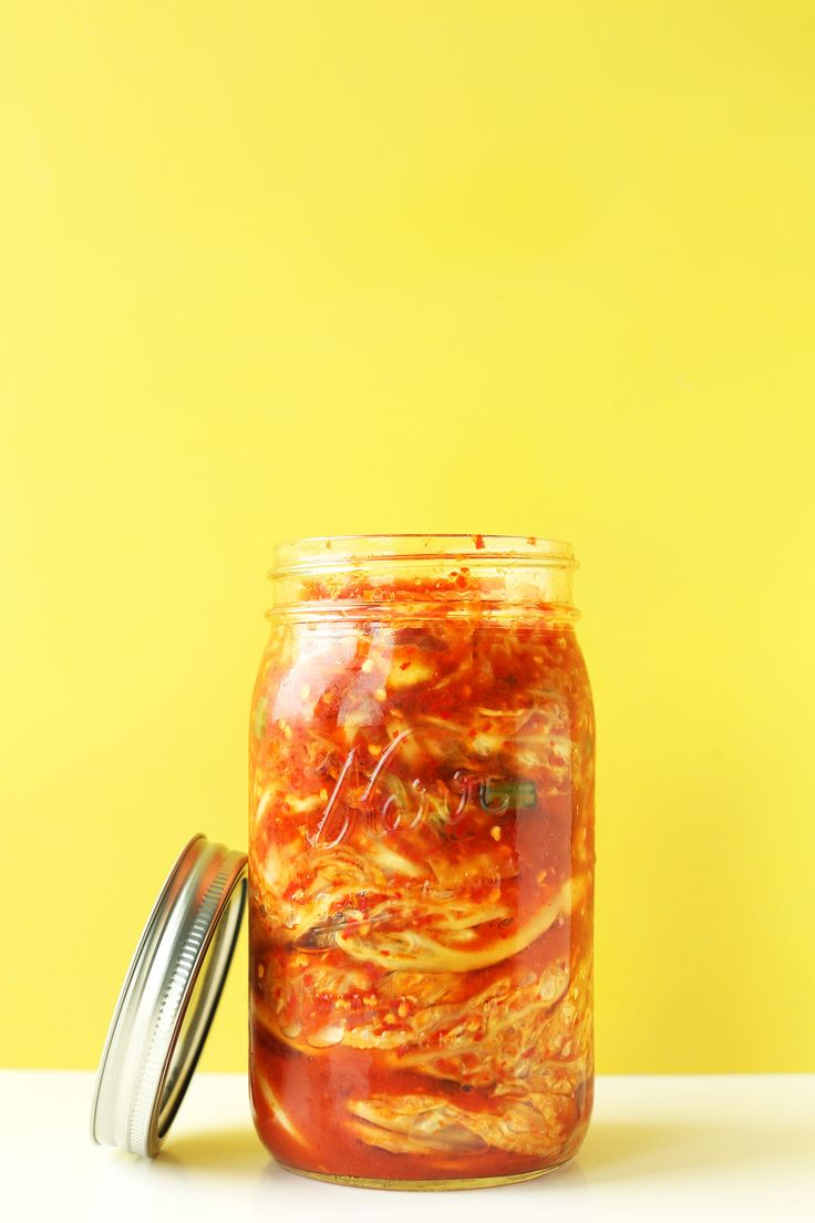 Easy, 10-ingredient vegan kimchi! Crunchy, tangy, spicy, and delicious. The perfect healthy side to any Korean dish.