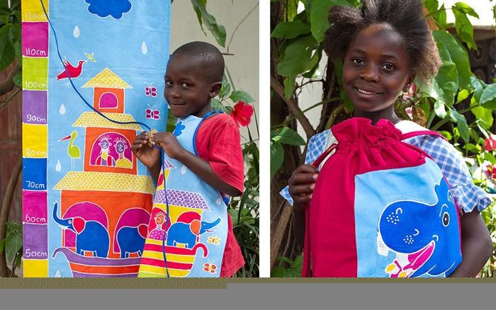 Hand painted height chart, apron and rucksack (Noah's ark) in safari fun kids bright colors