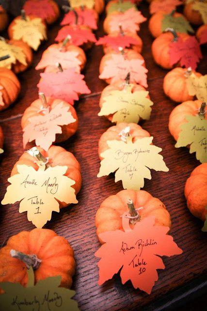 Seasonal Wedding Themes and Ideas | Autumn Wedding Placement Card | Photo credit: http://www.deerpearlflowers.com/fall-wedding-ideas-with-pumpkins/